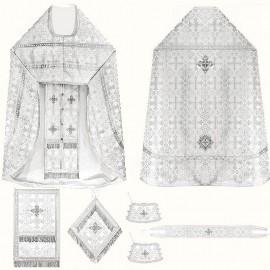 Vêtements sacerdotaux pour les prêtres (blancs argentés)
